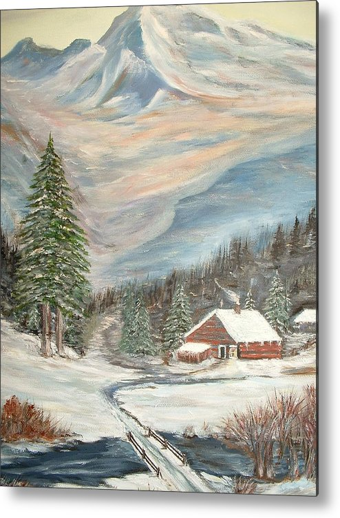 Landscape Mountains Cabin River Trees Metal Print featuring the painting Mountain Cabin by Kenneth LePoidevin