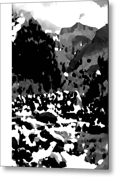 Landscape Black & White Metal Print featuring the photograph Mountain Landscape by Vijay Sharon Govender