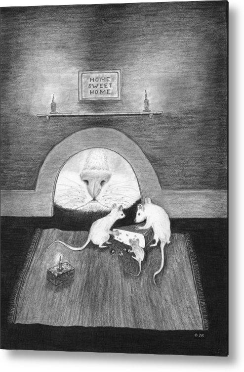 Karen Zuk Rosenblatt Art And Photography Metal Print featuring the painting Mouse Hole by Karen Zuk Rosenblatt