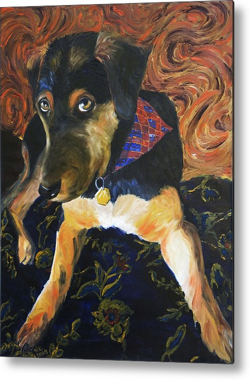 Dog Metal Print featuring the painting Murphy I by Nik Helbig