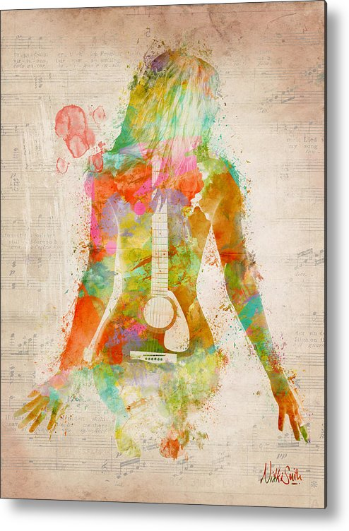 Guitar Metal Print featuring the digital art Music Was My First Love by Nikki Marie Smith