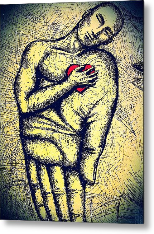 My Heart In Your Hand Metal Print featuring the digital art My Heart In Your Hand by Paulo Zerbato