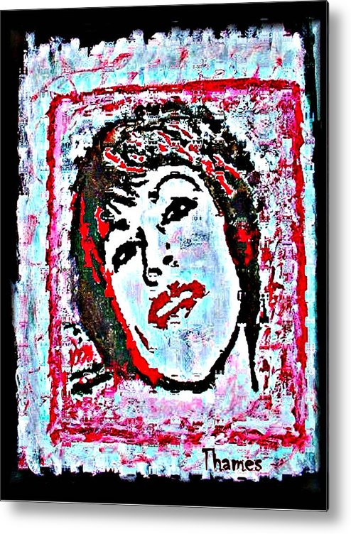 Red Metal Print featuring the painting My Nikki by Christopher Thames