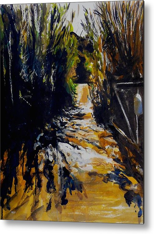 Landscape Metal Print featuring the painting Mystery Path by Doranne Alden