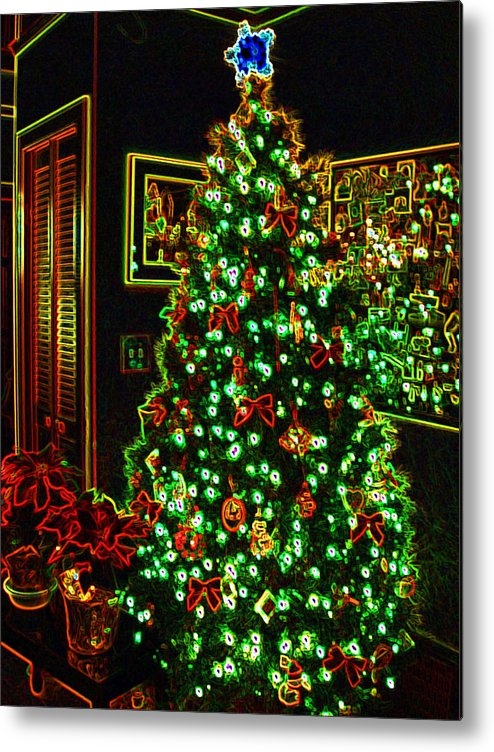 Christmas Metal Print featuring the photograph Neon Christmas Tree by Nancy Mueller