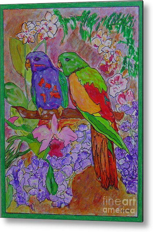 Tropical Pair Birds Parrots Original Illustration Leilaatkinson Metal Print featuring the painting Nesting by Leila Atkinson