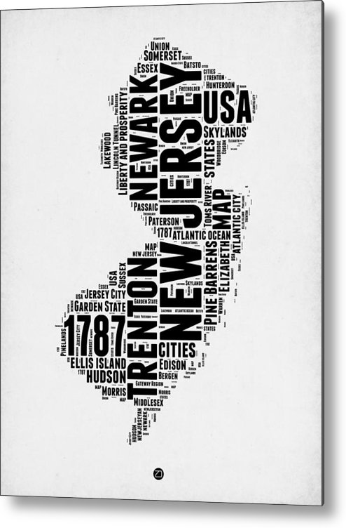 New Jersey Metal Print featuring the digital art New Jersey Word Cloud 2 by Naxart Studio