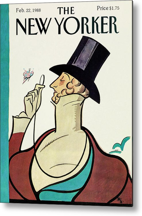 Eustace Tilley Metal Print featuring the drawing New Yorker February 22 1988 by Rea Irvin