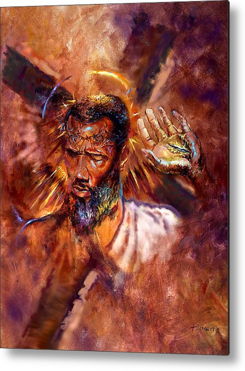 Religious Metal Print featuring the painting No Excuses by Tommy Winn