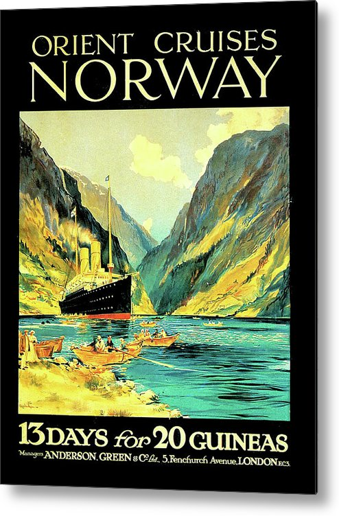 Norway Metal Print featuring the digital art Norway Orient Cruises, Vintage Travel Poster by Long Shot