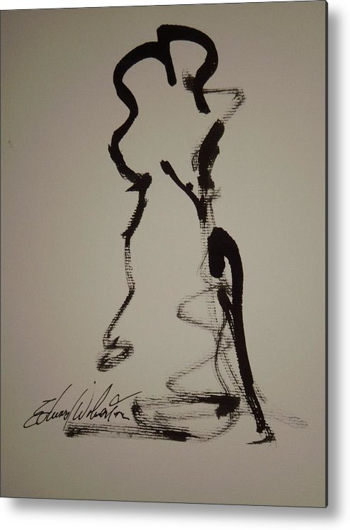 Portrait Metal Print featuring the drawing Nude Study In Ink A by Edward Wolverton