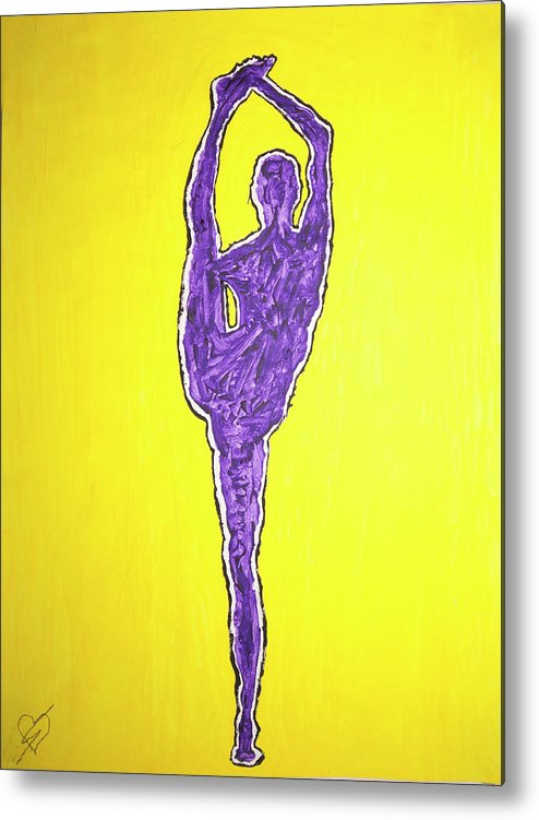 Nude Yoga Girl Violet Metal Print featuring the painting Nude Yoga Girl Violet by Stormm Bradshaw