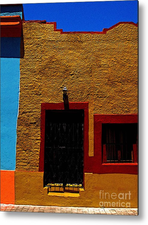 Mexico Metal Print featuring the photograph Ochre House With Blue Sky by Mexicolors Art Photography