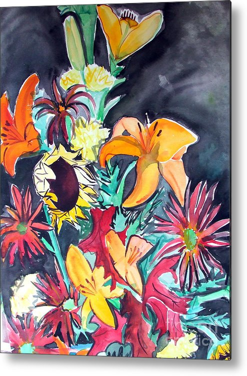 Sunflower Metal Print featuring the painting October Flowers by Vanda Sucheston Hughes