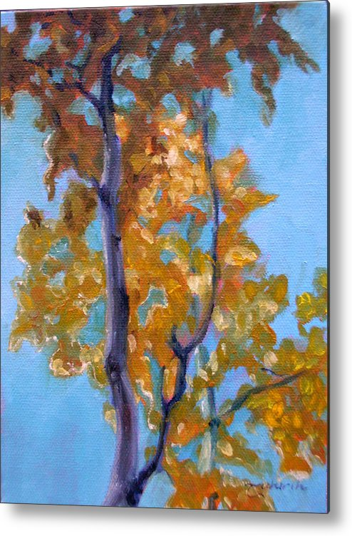 Landscape Metal Print featuring the painting October by Tahirih Goffic