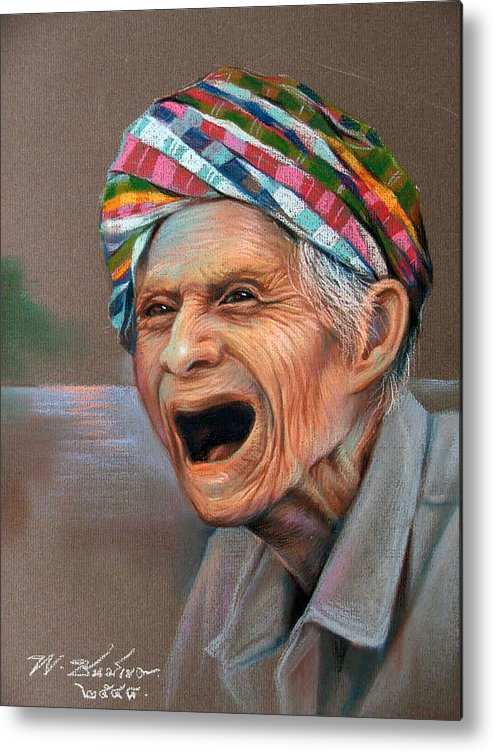 Pastel Metal Print featuring the painting Old Man by Chonkhet Phanwichien