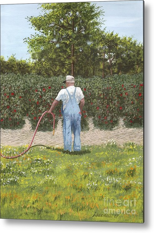 Old Man Metal Print featuring the painting Old Man In Garden by Don Lindemann