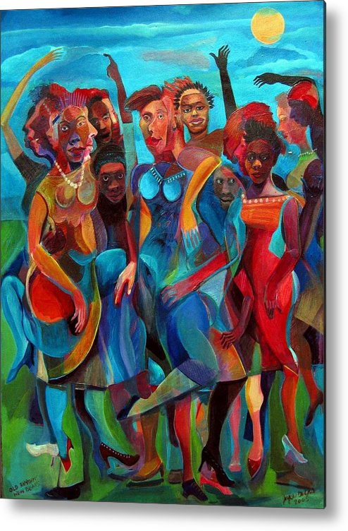 Figures Metal Print featuring the painting Old Rhythms New Beats by Joyce Owens
