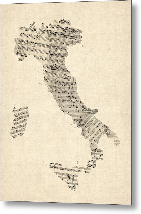 Italy Map Metal Print featuring the digital art Old Sheet Music Map Of Italy Map by Michael Tompsett