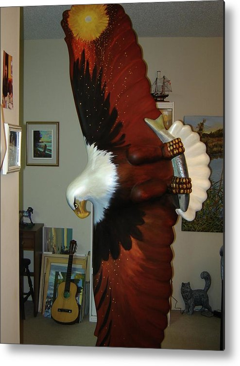 Sculpture Eagle Bald Headed Metal Print featuring the sculpture On Eagles Wings by Catherine Robertson