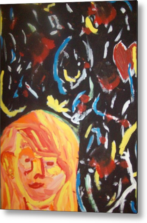 Girl Metal Print featuring the painting On This Sleepless Night by Samantha Gilbert
