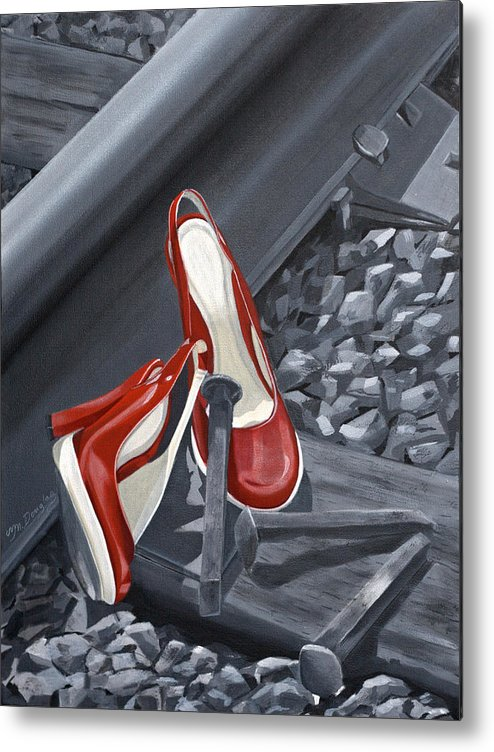 Red Metal Print featuring the painting On Track by Melodie Douglas