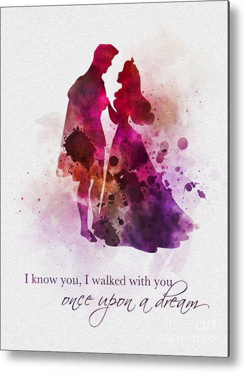 Sleeping Beauty Metal Print featuring the mixed media Once Upon A Dream by My Inspiration