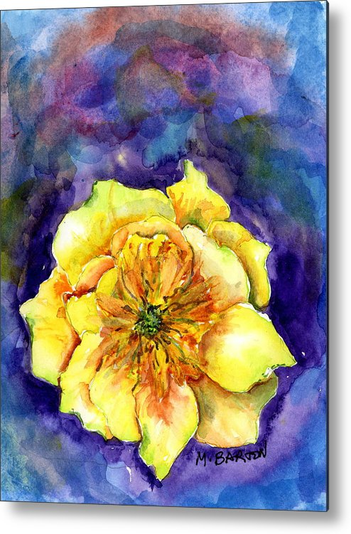 Cactus Metal Print featuring the painting One Cactus Flower by Marilyn Barton