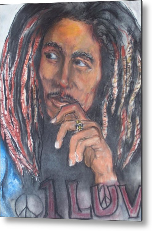 Bob Marley Metal Print featuring the print One Luv by Darryl Hines