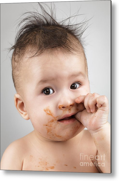 Baby Metal Print featuring the photograph One Messy Baby Boy Sucking His Thumb by Oleksiy Maksymenko