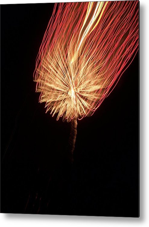Firework Metal Print featuring the photograph Orange Firework by Michelle Miron-Rebbe