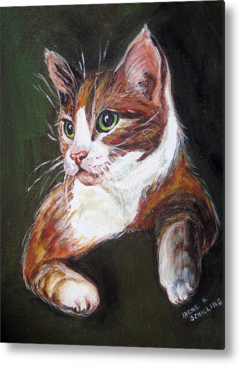 Cat Metal Print featuring the painting Orange Kitty by Irene Schilling