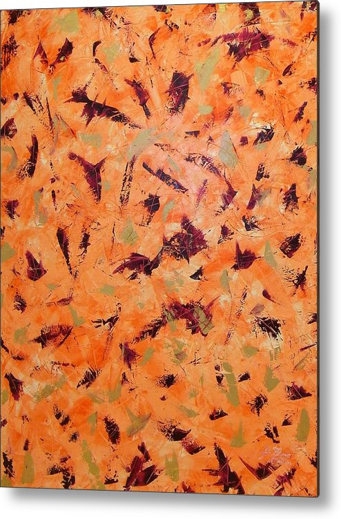Abstract Metal Print featuring the painting Orange Wall by Guillermo Mason