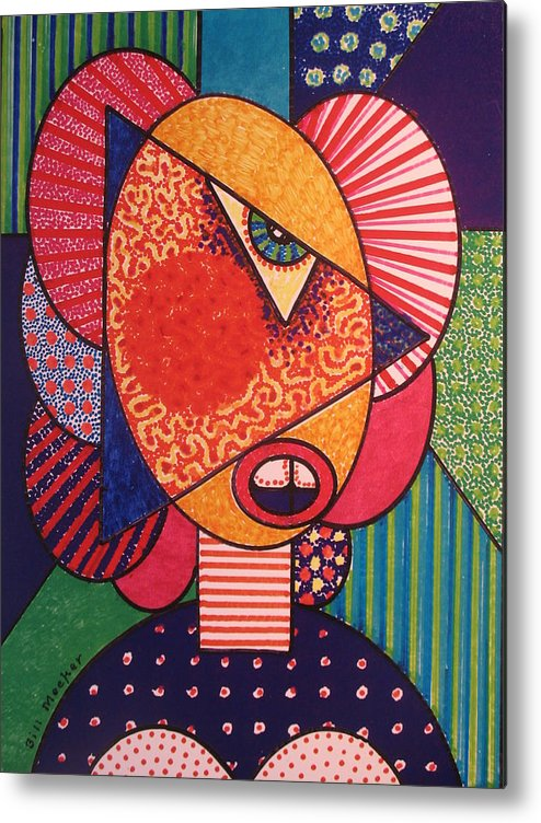 Cubissm Metal Print featuring the painting Painted Woman by Bill Meeker