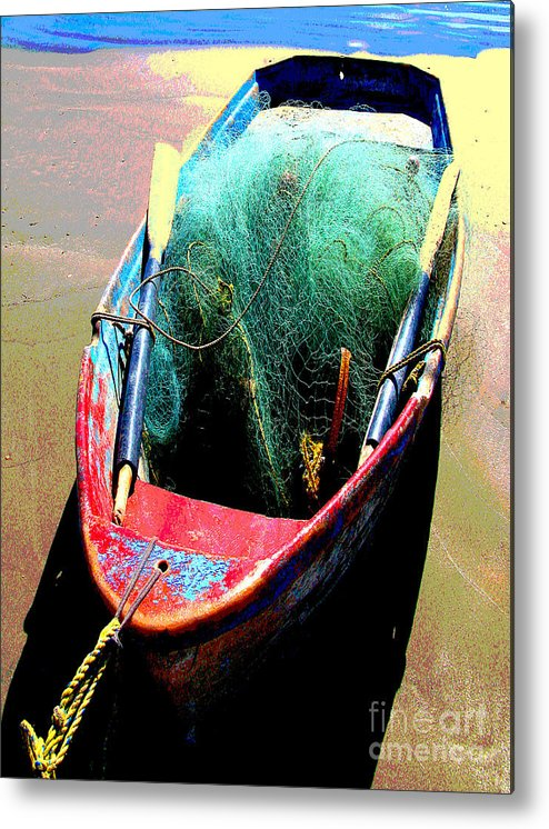 Michael Fitzpatrick Metal Print featuring the photograph Pangas And Nets 1 By Michael Fitzpatrick by Mexicolors Art Photography