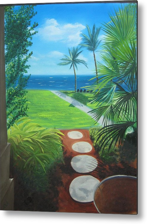 Seascape Metal Print featuring the painting Paradise Beckons by Lea Novak
