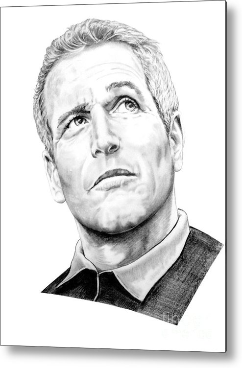 Paul Newman Metal Print featuring the drawing Paul Newman by Murphy Elliott