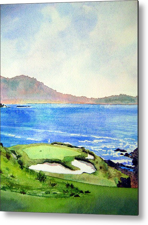 Transparent Watercolor Landscape Pebble Beach Golf Course 7th Hole. Us Open Ocean Marine Seascape At&t Pebble Beach Pro-am Metal Print featuring the painting Pebble Beach Gc 7th Hole by Scott Mulholland