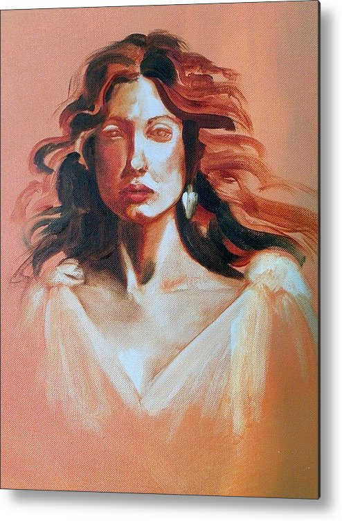 Portrait Metal Print featuring the painting Pensive by Brenda Ellis Sauro