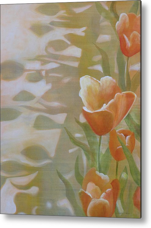 Floral Metal Print featuring the painting Phantom Tulips by Lauren Everett Finn