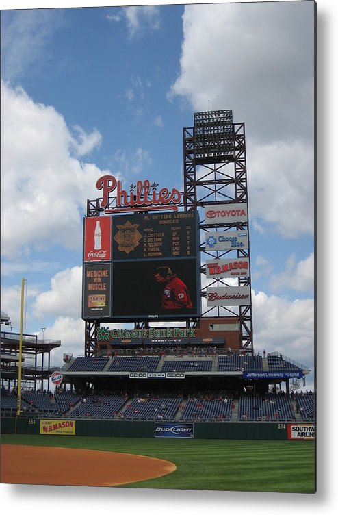 Citizens Bank Park Metal Print featuring the photograph Phillies by Jennifer Sweet