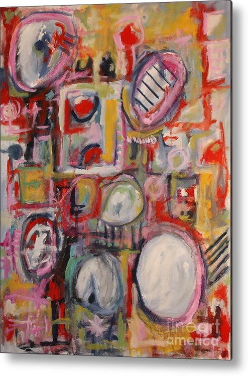 Abstract Metal Print featuring the painting Pink Crowd by Michael Henderson