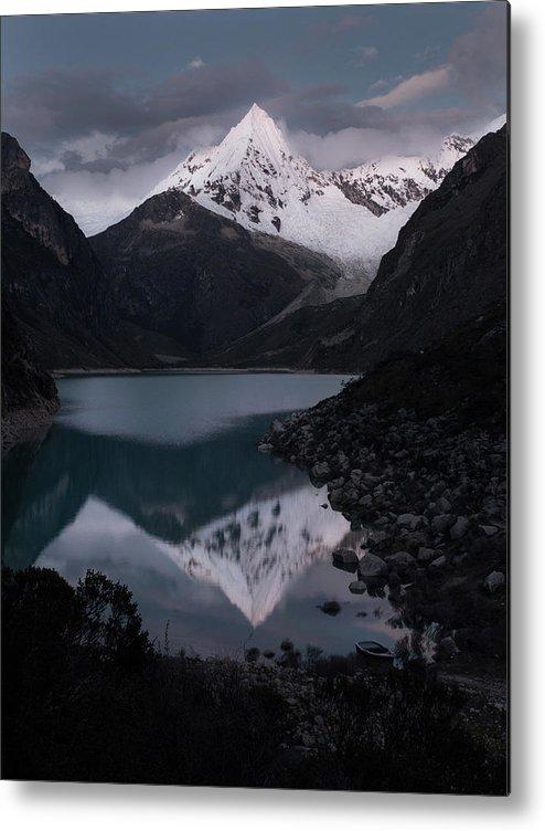Landscape Metal Print featuring the photograph Piramide Reflecting In Lake Paron, Cordillera Blanca, Peru by Ashwin Atre