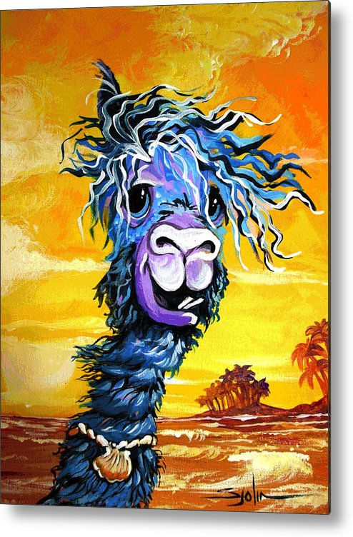 Alpaca Metal Print featuring the painting Pisco The Surfing Alpaca by Patty Sjolin