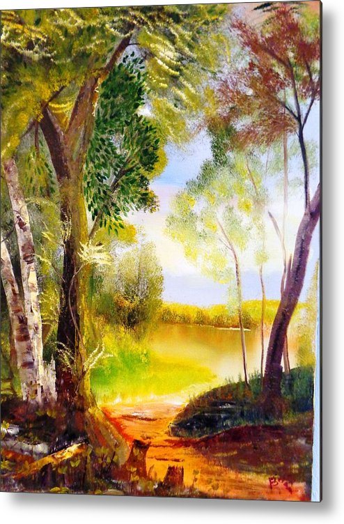 Trees Metal Print featuring the painting Serenity by Travis Kealy