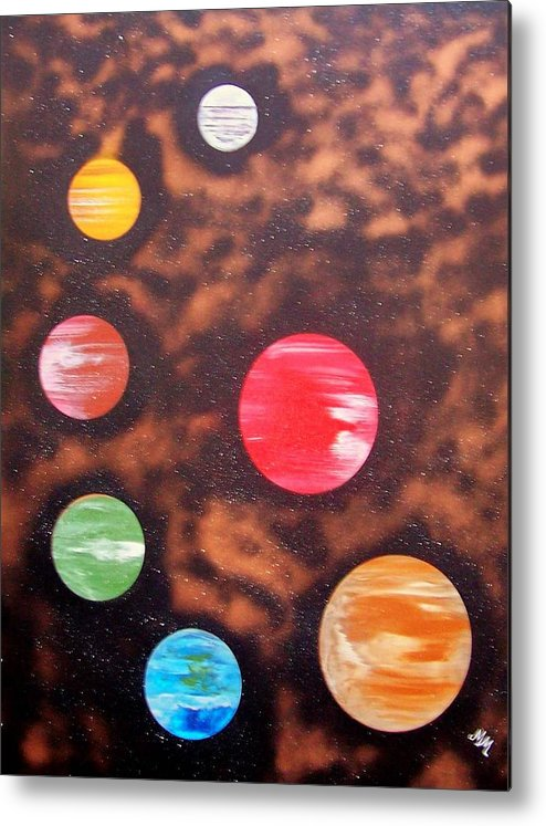 Planets.solar System Metal Print featuring the painting Planets At Night by Martha Mullins