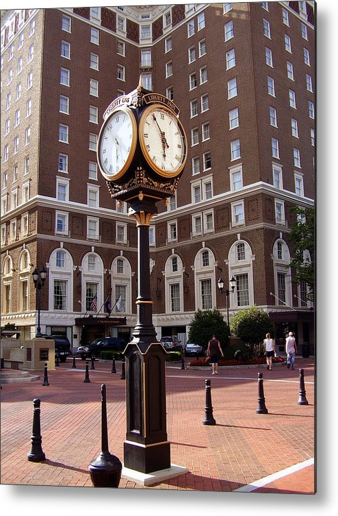 Poinsett Hotel Metal Print featuring the photograph Poinsett Hotel Greeenville Sc by Flavia Westerwelle