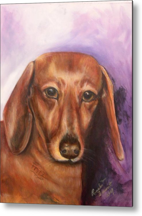 Pet Portrait Metal Print featuring the painting Portrait Of Fritz - Commissions Accepted by Renee Dumont Museum Quality Oil Paintings Dumont