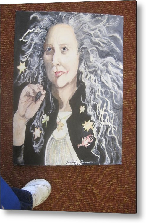 This Is A Portrait Of The Famous Artist Kiki Smith. Artist Borrowed A Crumpled Digital Photo From A Friend Who Carried It In Her Purse As A Muse. Artist Mixed Own Water-based Paints To Make Painting Sparkle. Metal Print featuring the painting Portrait Of Kiki Smith by Georgia Annwell