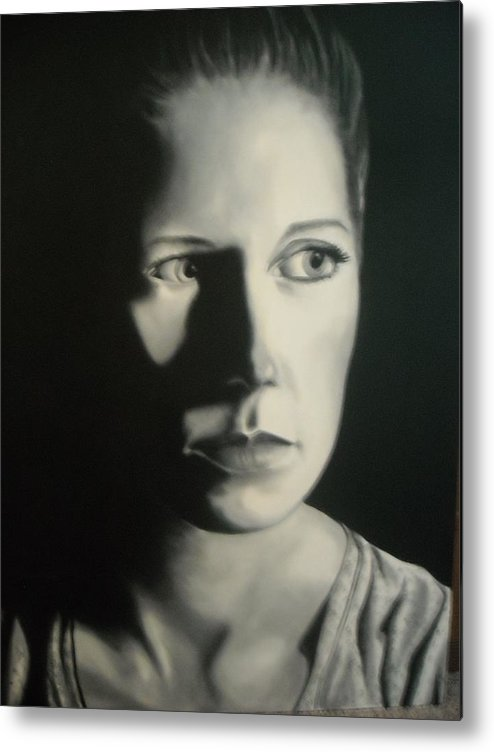 Painting Metal Print featuring the painting Portrait Of Michelle C. #2 by Kevin Schmoldt